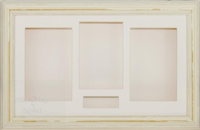 Large Shabby Chic Cream 3D Shadow Box Display Frame / Cream