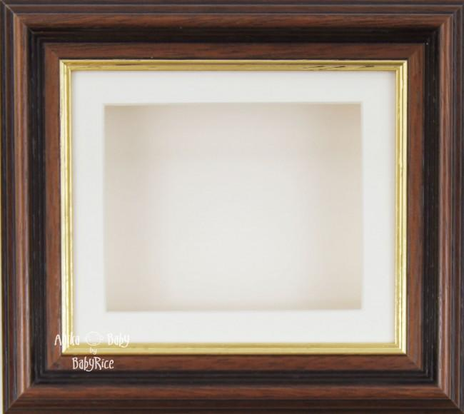 "6x5"" Mahogany/Gold Trim display frame / Cream mount & Backing"