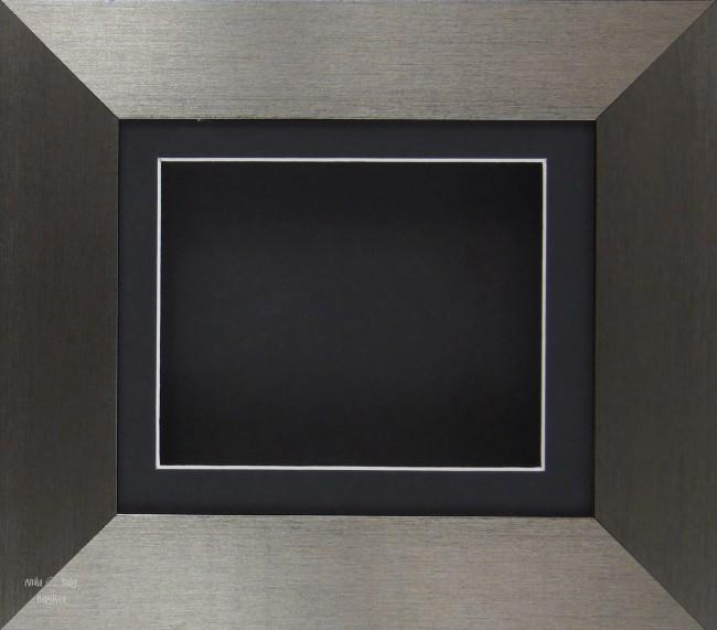 Brushed Pewter Shadow Box Display Frame / Black mount & backing