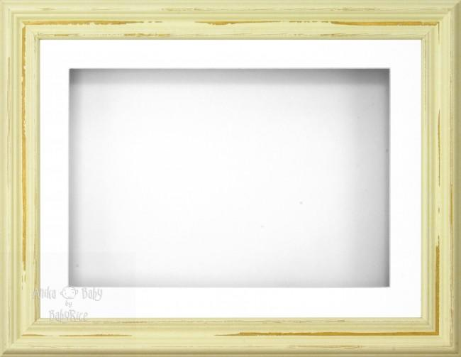 "11.5x8.5"" Shabby Chic 3D Display Frame 1 Hole White Mount White Back"