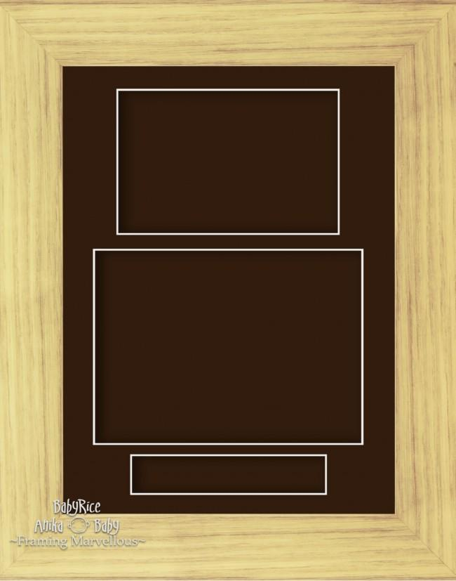 "11.5x8.5"" Oak Effect 3D Display Frame 3 Hole Brown Mount Portrait"