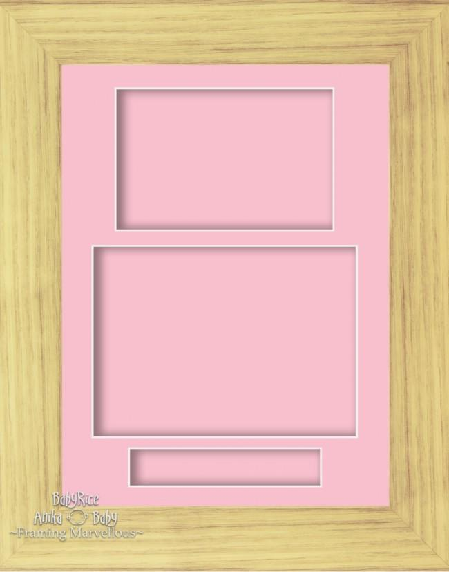 "11.5x8.5"" Oak effect Display Frame Pink 3 hole mount Portrait"