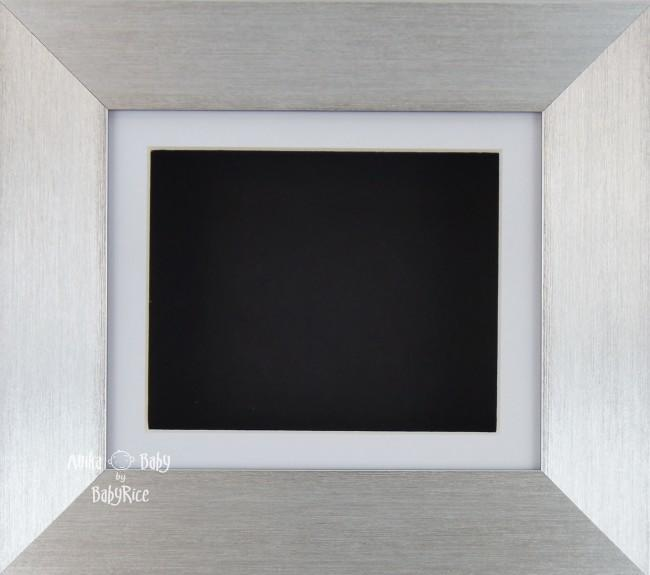 Brushed Silver Shadow Box Display Frame / White & Black