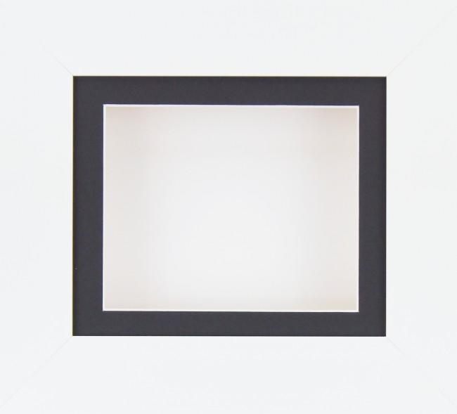 "6x5"" Deep Box Display Frame in White with Black Mount and White Backing"