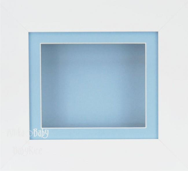 White Small Display Frame / Blue mount & backing card