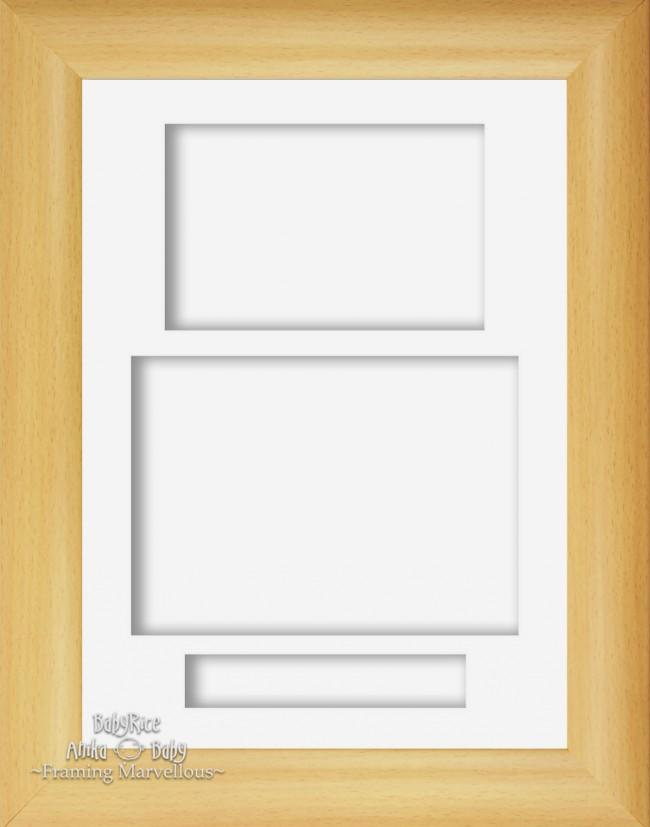 "12x9"" Beech Effect 3D Display Frame 3 Hole White Portrait"