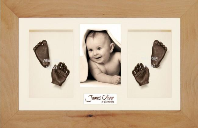 Baby Casting Kit Christening Gift, Beech Wooden Frame, Bronze Casts