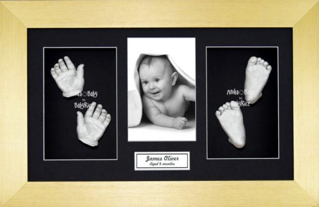 Baby Casting Kit / Gold Frame / Black Photo Display / Silver Paint