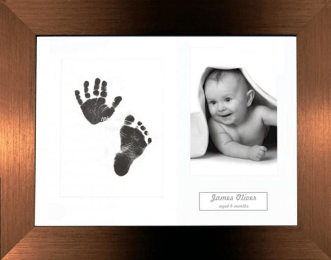 New Baby Inkless Prints, Hand & Footprint Kit, Brushed Bronze Frame