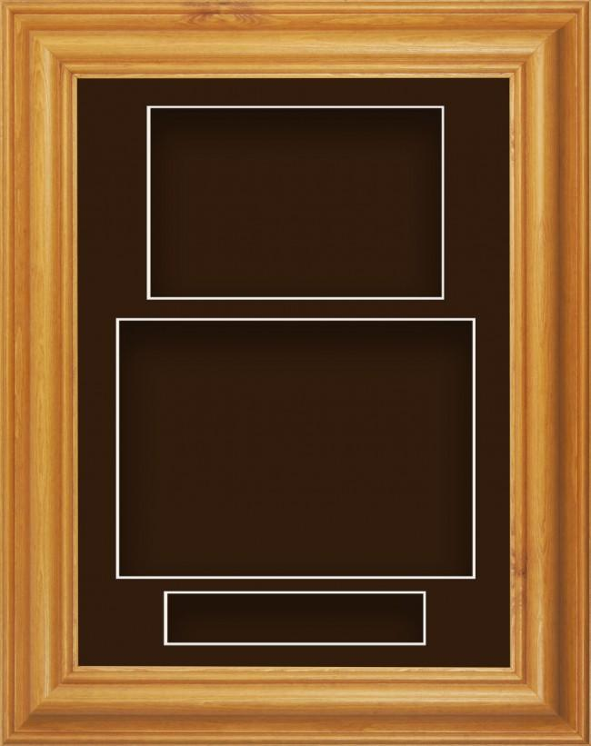 11.5x8.5 Honey Pine Wood Deep Box Display Frame Brown Portrait