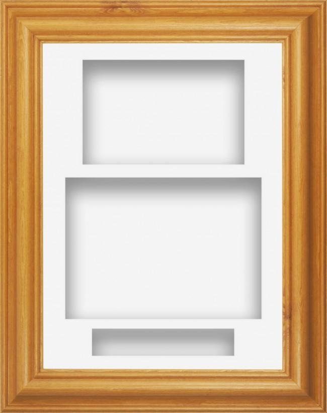 12x9 Honey Pine Wood Deep Box Display Frame White Portrait