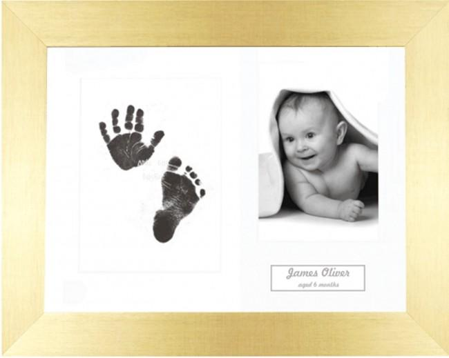 New Baby Gift Inkless Prints, Hand & Footprint Kit, Brushed Gold Frame