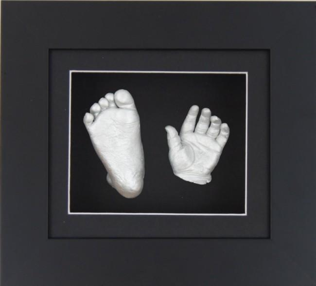 New 3D Baby Casting Kit Black Frame Silver paint Hand Foot Casts