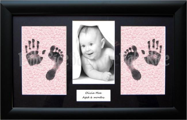 Baby Girl Handprint & Footprint Kit, Black Frame, Mottled Pink Wipes