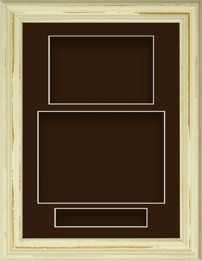 Shabby Chic Cream Deep Box Display Frame Brown Portrait