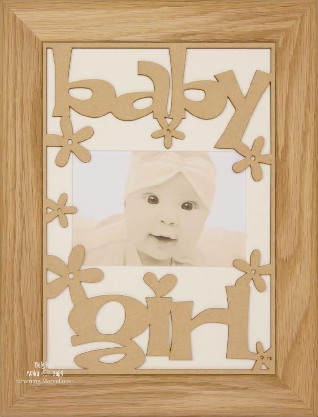 BabyRice New Baby Girl Gift Wooden Frame Solid Oak – Cream Mount