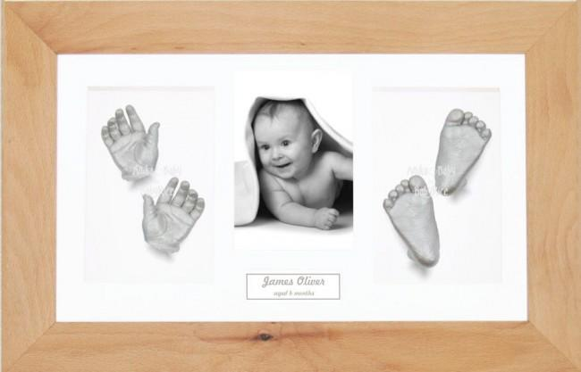 Baby Casting Kit Christening Gift, 3D Silver Casts, Beech Wood Frame