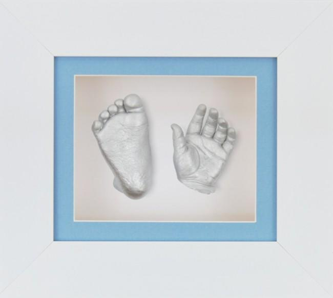 Newborn Baby Boy Gift 3D Hand Foot Prints with White Frame Kit
