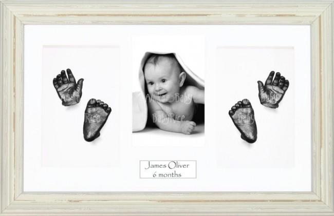 Baby Casting Kit / Shabby Chic Cream Frame / Pewter Hand Foot Casts