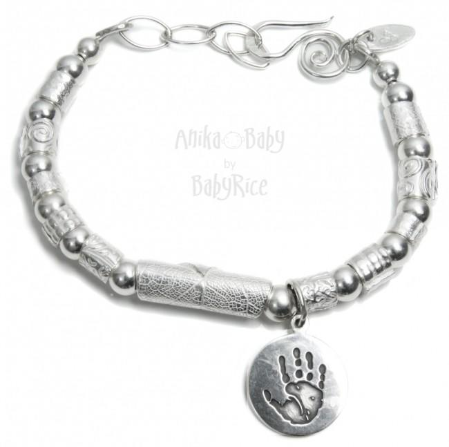 Handprint or Footprint Silver Circle Charm Beaded Cuff Bracelet Oxi
