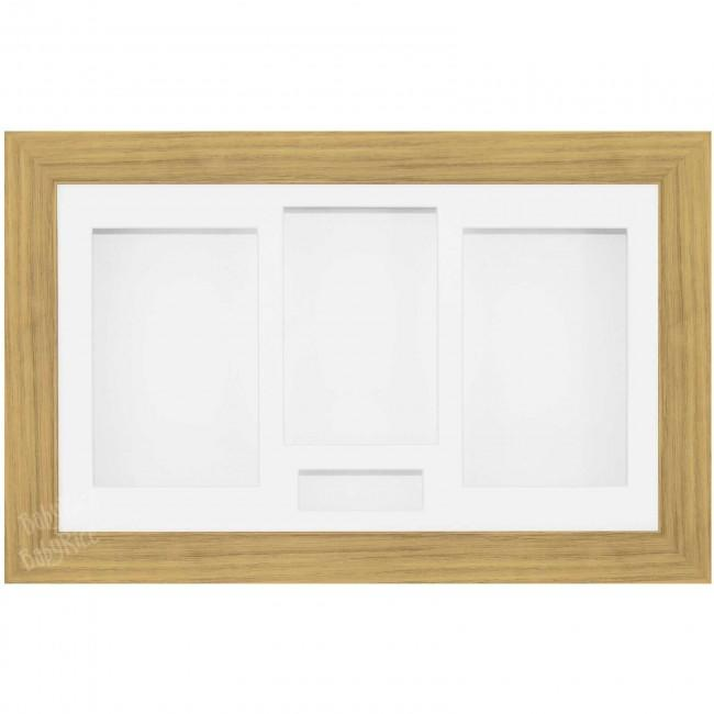 Large Medium Oak Effect 3D Shadow Box Display Frame / White Inserts for Castings Objects Photo