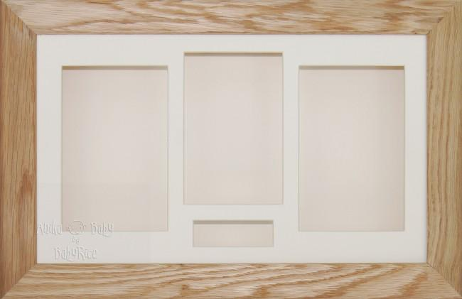 Solid Oak 3D Wooden Shadow Box Display Frame / Cream mount
