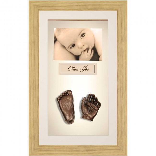 Large or Twins Baby Casting Kit / Oak Effect Frame / Bronze Casts