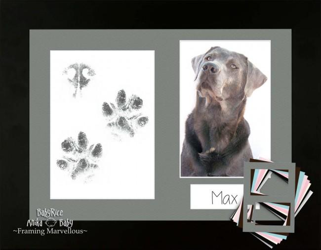 Dog Pet Paw Prints Kit with Black Wooden Frame with Black Mount