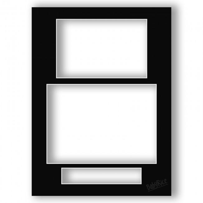 Three Aperture Picture Frame Mount & Backing Card 12x9 Inches (Portrait)- Midnight Black