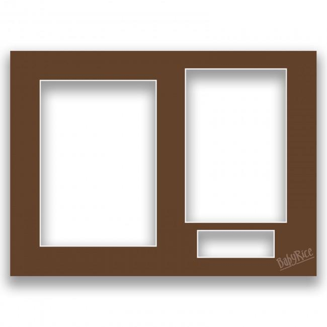 Three Aperture Picture Frame Mount & Backing Card 12x9 Inches - Gingerbread