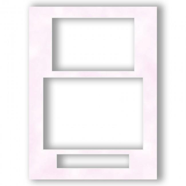 Three Aperture Picture Frame Mount 12x9 Inches (Portrait) - Mottled Pink