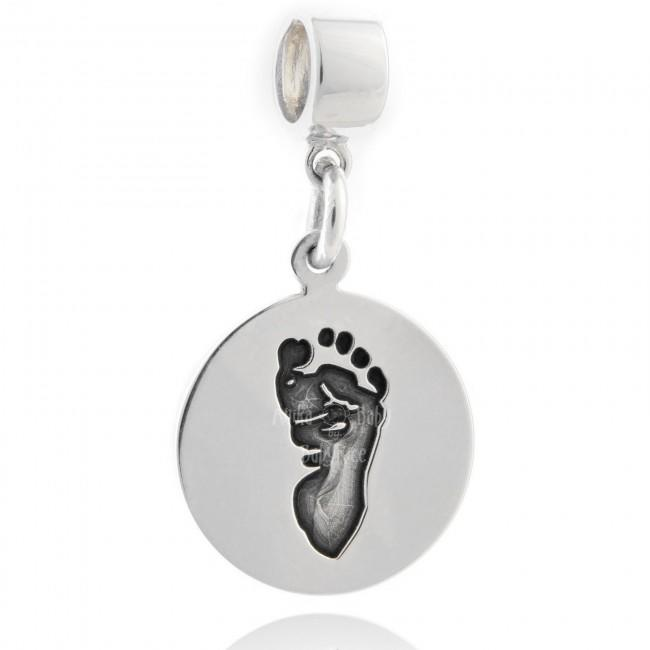 Silver Fingerprint Jewellery Personalised Footprint Handprint on Drop Charm Bead