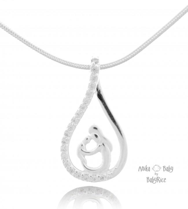 Small Sterling Silver CZ Mother and Child Pendant