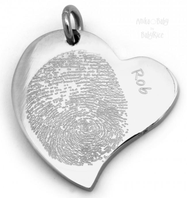 Stainless Steel Curved Heart Pendant Adult Child Fingerprint