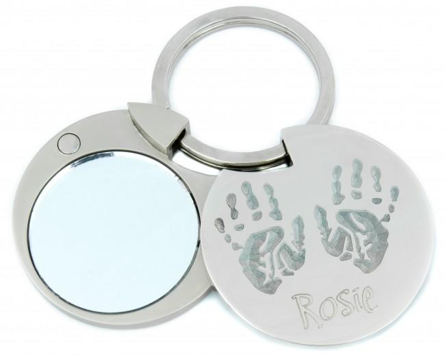 Personalised Handprint Footprint Circle Keyring with Photo and Mirror