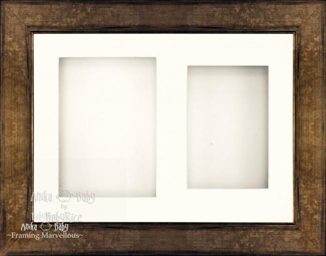 "11.5x8.5"" Bronze Brown 3D Deep Box Frame White Mount"