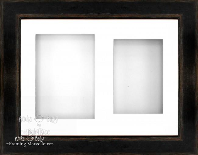 "11.5x8.5"" Black Orange 3D Deep Box Frame White 2 Mount"