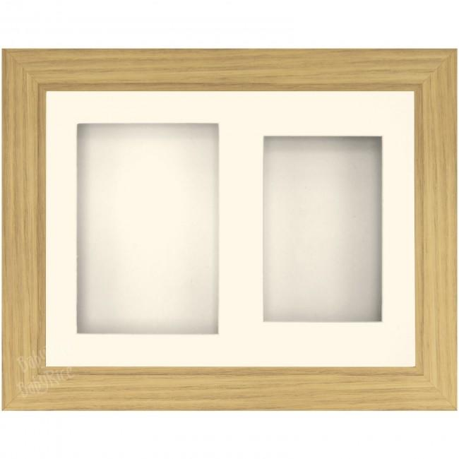 "9x12"" Oak effect Display Frame Cream 2 hole mount - BabyRice"
