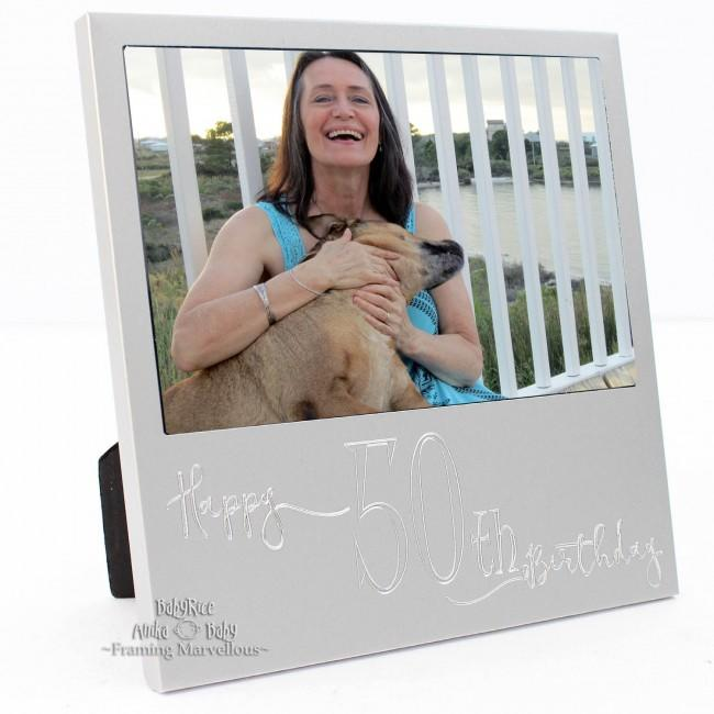 New Engraved Silver 50th Birthday Photo Frame