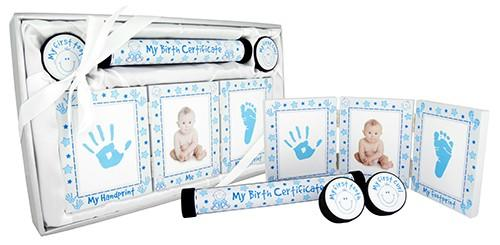 Baby Keepsake 4 Piece Gift Set - White and Blue