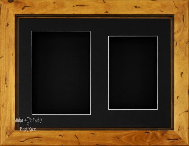 "11.5x8.5"" Rustic Pine Wood 3D Display Frame 2 Hole Black Mount Black Back"
