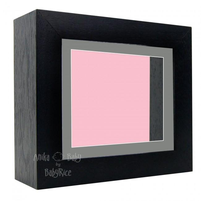 "Deluxe Black Deep Box Frame 6x5"" with Grey Mount and Pink Backing"
