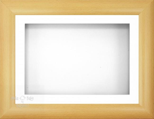"12x9"" Beech Effect 3D Display Frame 1 Hole White"