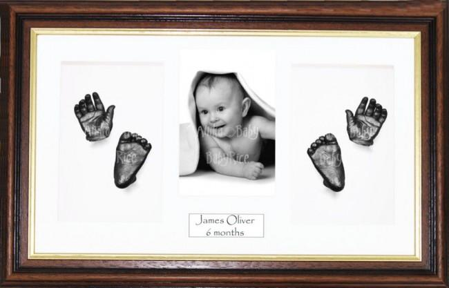 Handprint Footprint Casting, Large Mahogany Gold Frame, Pewter Paint