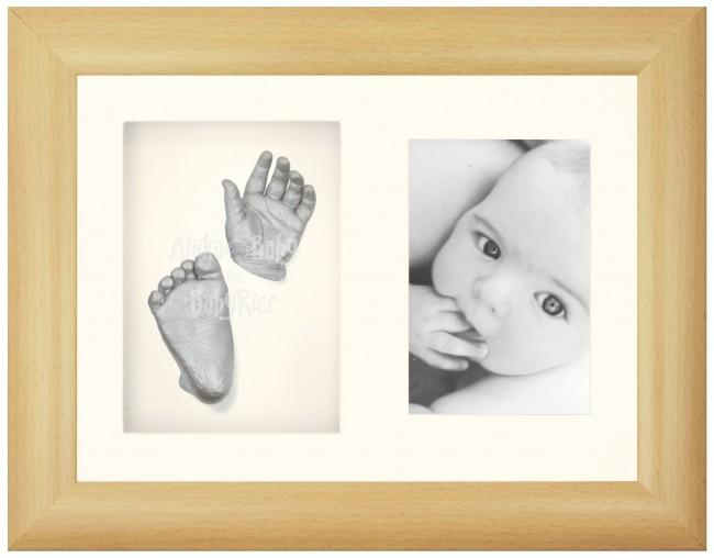 Baby Casting Kit, Beech Effect Frame, Silver Hands and Feet