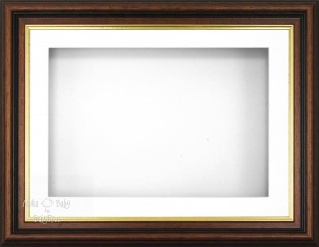 "11.5x8.5"" Mahogany Gold Effect 3D Display Frame 1 Hole White Mount White Back"
