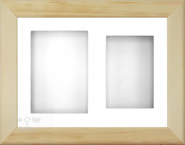 "11.5x8.5"" Natural Pine Wood 3D Display Frame 2 Hole White Mount White Back"
