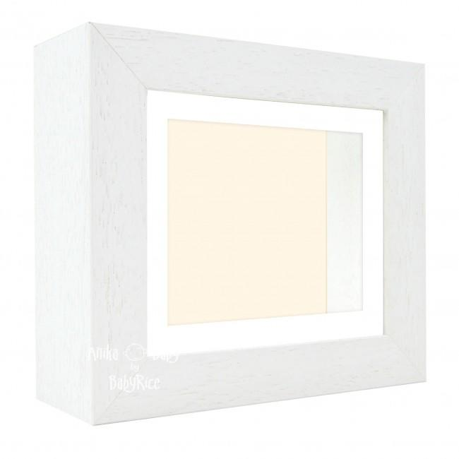 "Deluxe White Deep Box Frame 6x5"" with White Mount and Cream Backing"