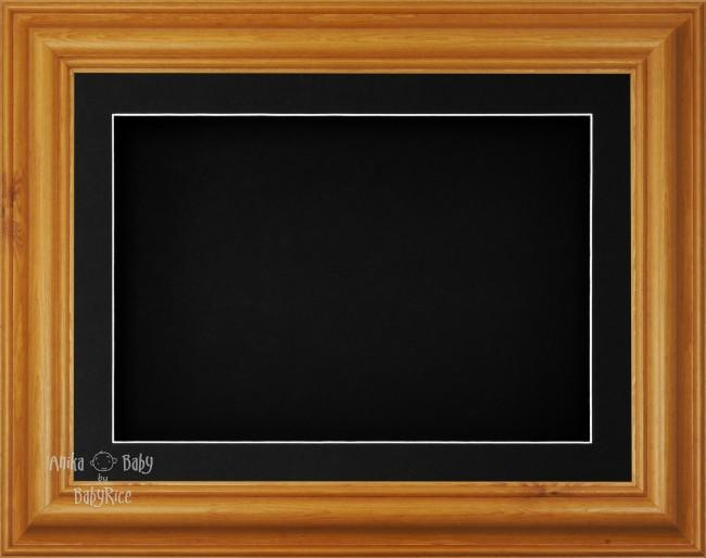 "11.5x8.5"" Honey Pine Wood 3D Display Frame 1 Hole Black Mount Black Back"