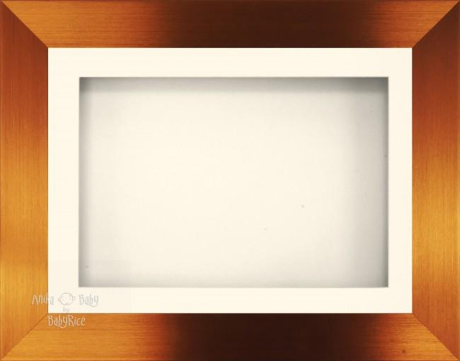 "11.5x8.5"" Brushed Bronze 3D Display Frame 1 Hole Cream Mount Cream Back"